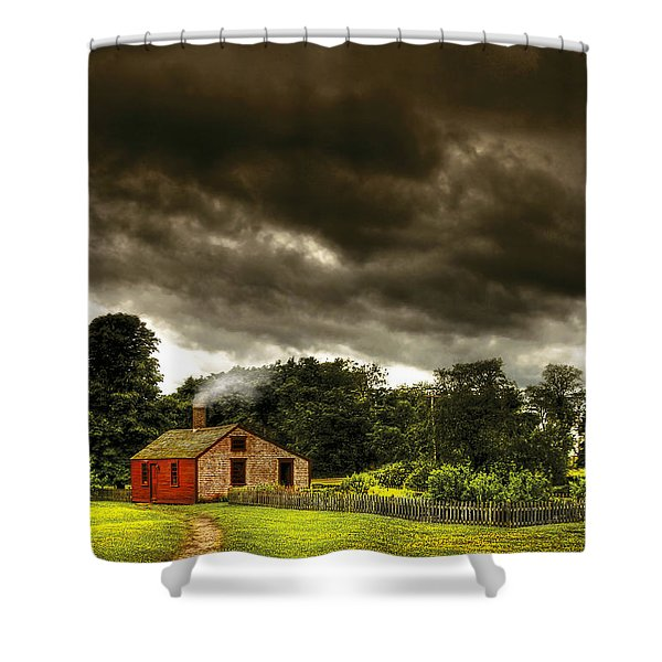 Farm - Barn - Storms a comin Shower Curtain by Mike Savad