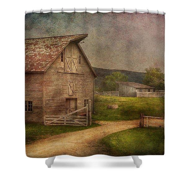 Farm - Barn - The Old Gray Barn Shower Curtain by Mike Savad