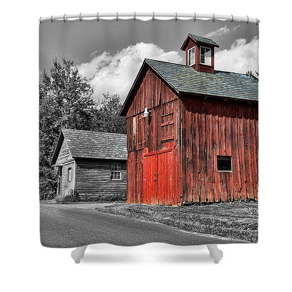 Farm - Barn - Weathered Red Barn Shower Curtain by Paul Ward