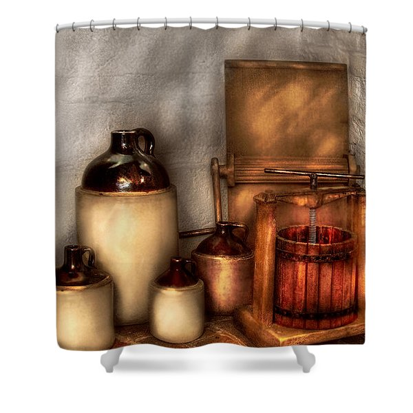 Farm - Bottles - Let's make some  apple juice Shower Curtain by Mike Savad
