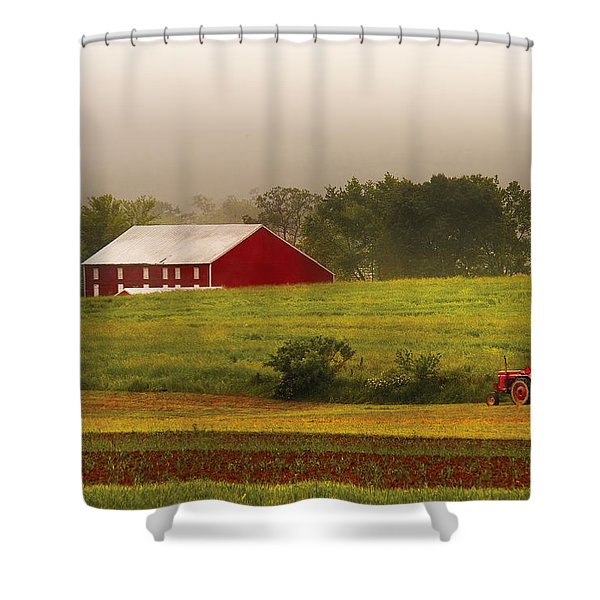Farm - Farmer - Tilling the fields Shower Curtain by Mike Savad