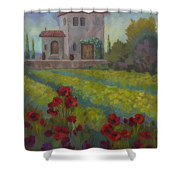 Farm In Sienna Shower Curtain by Diane McClary