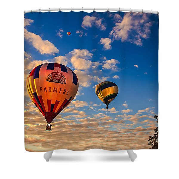 Farmer's Insurance Hot Air Ballon Shower Curtain by Robert Bales