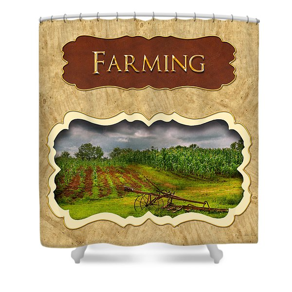Farming and country life button Shower Curtain by Mike Savad