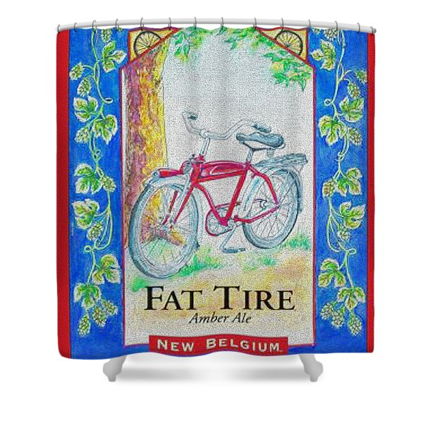 Fat Tire Shower Curtain by Cheryl Young