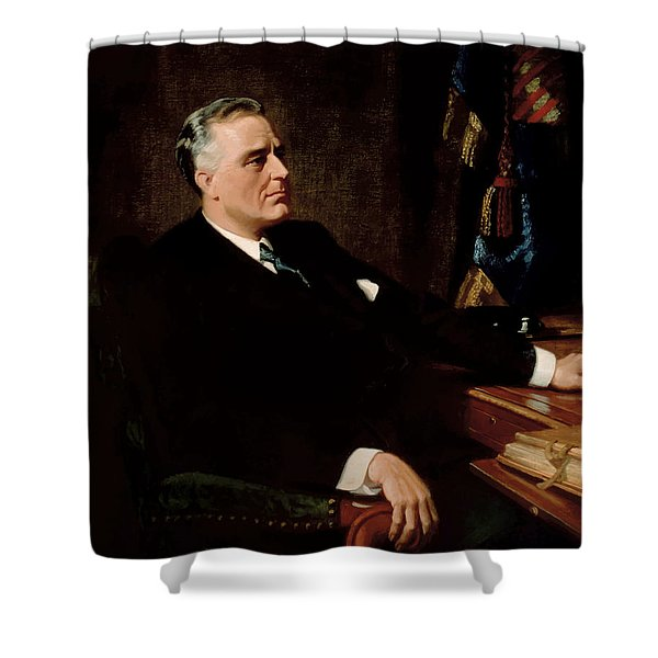 FDR Official Portrait  Shower Curtain by War Is Hell Store