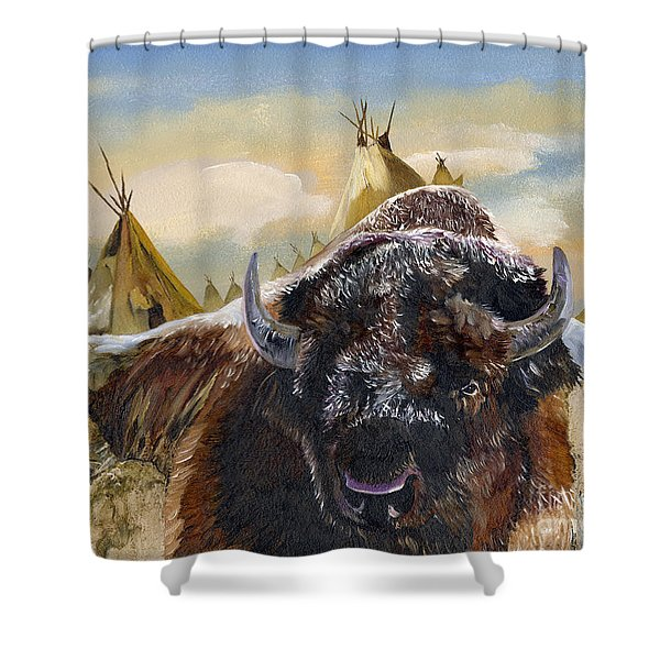 Feed The Fire Shower Curtain by J W Baker