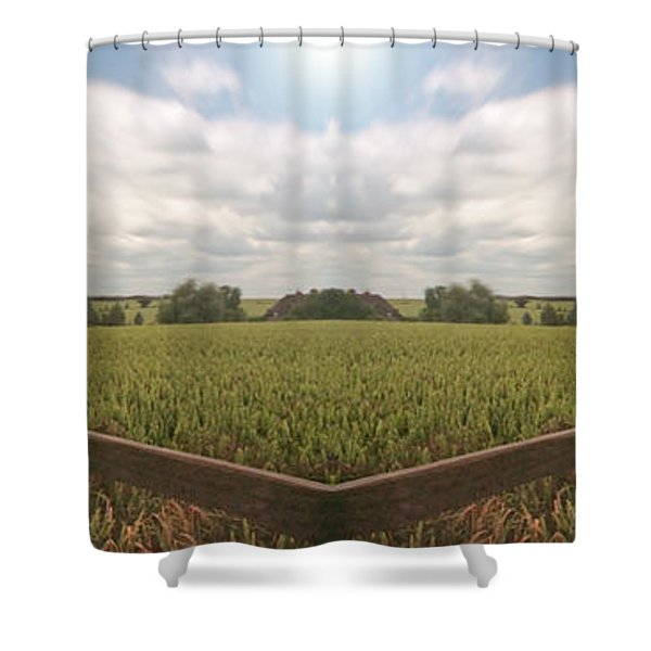 Field And Sky, South England Shower Curtain by Vast Photography