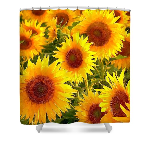 Field Of Sunflowers Shower Curtain by Lanjee Chee