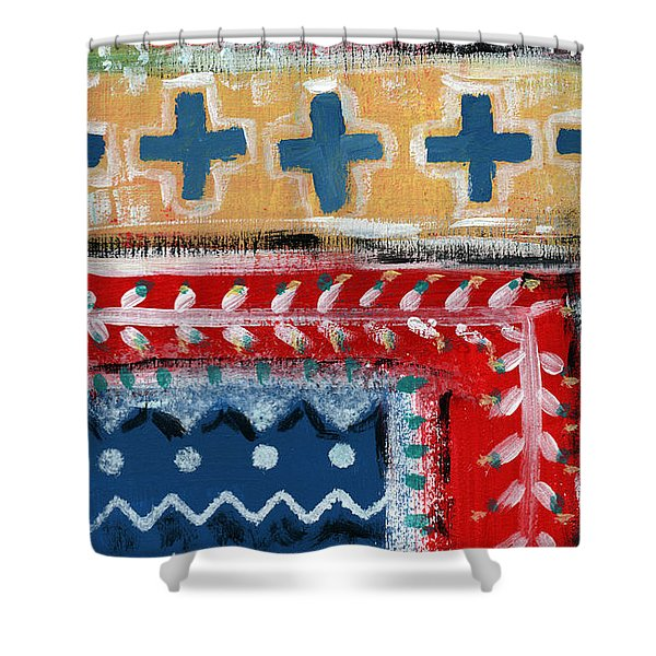 Fiesta 3- colorful pattern painting Shower Curtain by Linda Woods