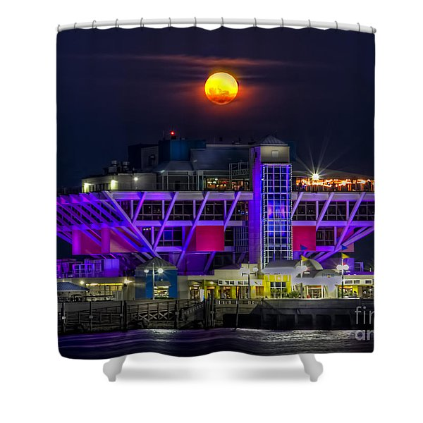 Final Moon over the Pier Shower Curtain by Marvin Spates