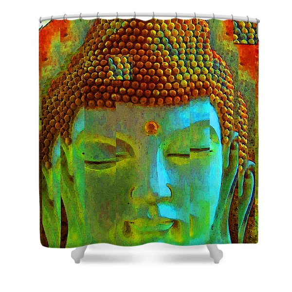Finding Buddha - Meditation Art By Sharon Cummings Shower Curtain by Sharon Cummings