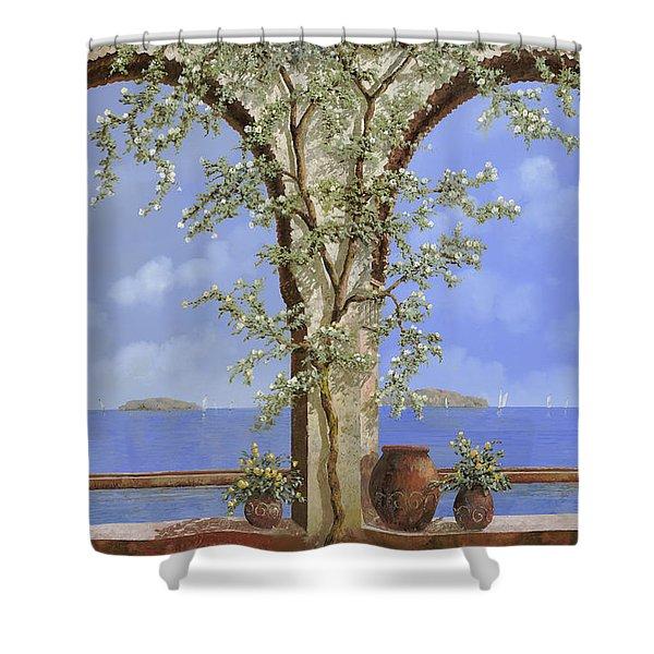Fiori Bianchi Sulla Parete Shower Curtain by Guido Borelli