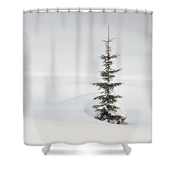 Fir tree and lots of snow in winter Kleinwalsertal Austria Shower Curtain by Matthias Hauser