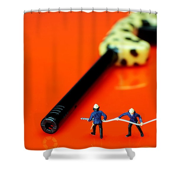 Fire fighters and fire gun little people big worlds Shower Curtain by Paul Ge