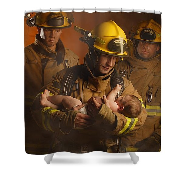 Fire Fighters Rescuing A Baby Shower Curtain by Don Hammond