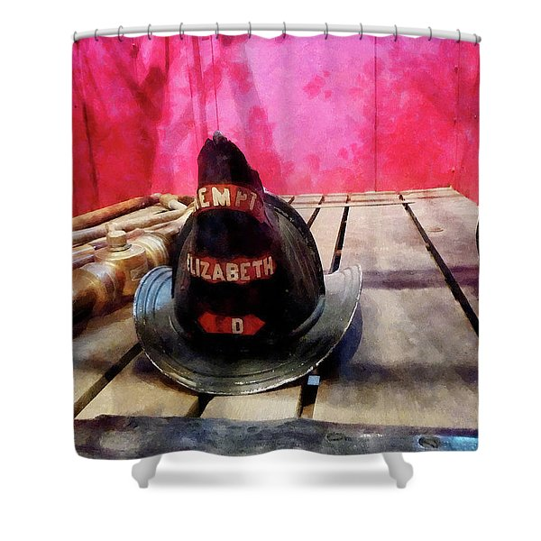Fireman - Fire Helmet In Fire Truck Shower Curtain by Susan Savad