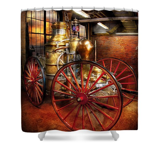 Fireman - One day a long time ago  Shower Curtain by Mike Savad