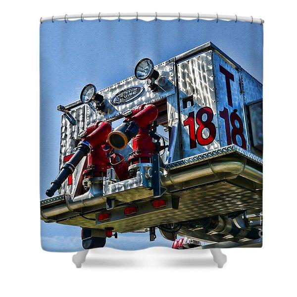 Fireman - The Fireman's Ladder Shower Curtain by Paul Ward