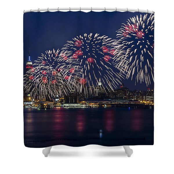 Fireworks and Full Moon Over New York City Shower Curtain by Susan Candelario
