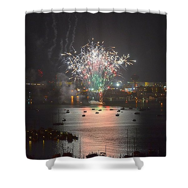 Fireworks at Night for the 4th of July over Fort Walton Beach from 14th Floor Balcony Shower Curtain by Jeff at JSJ Photography