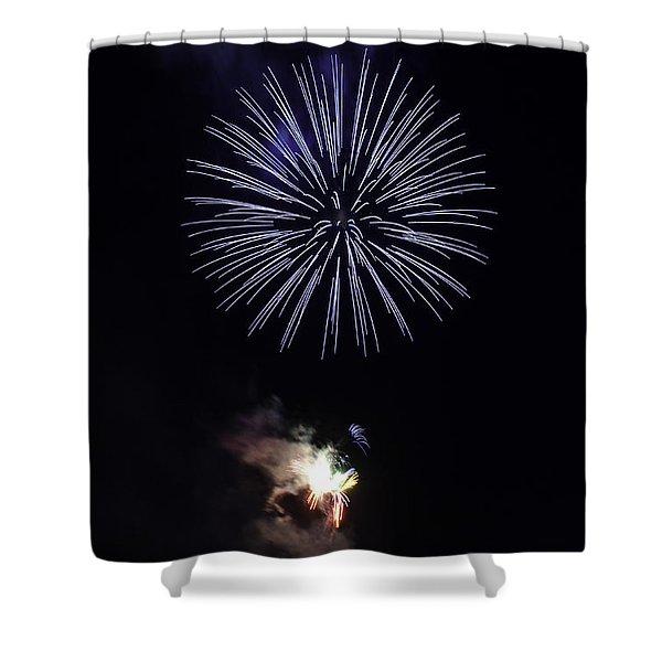 Fireworks Shell Burst over the St Petersburg Pier Shower Curtain by Jay Droggitis