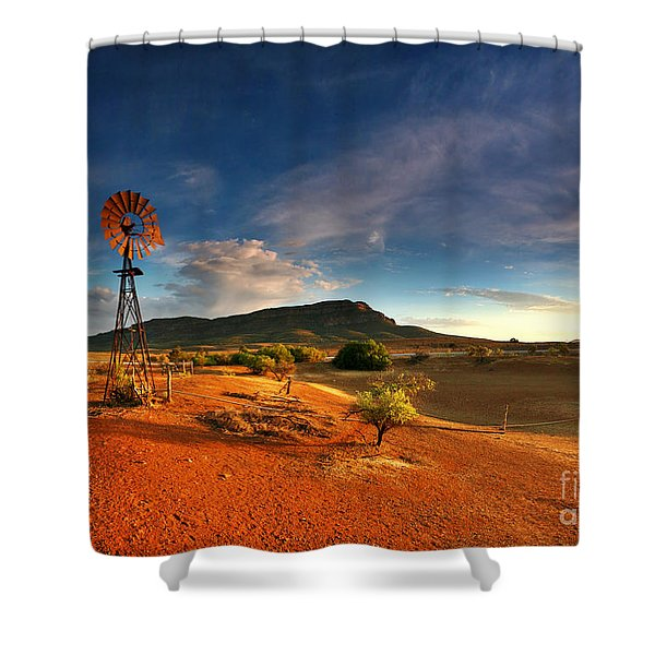 First Light on Wilpena Pound Shower Curtain by Bill  Robinson