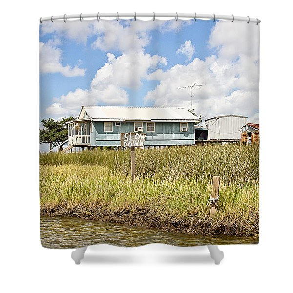 Fish Camp Shower Curtain by Scott Pellegrin
