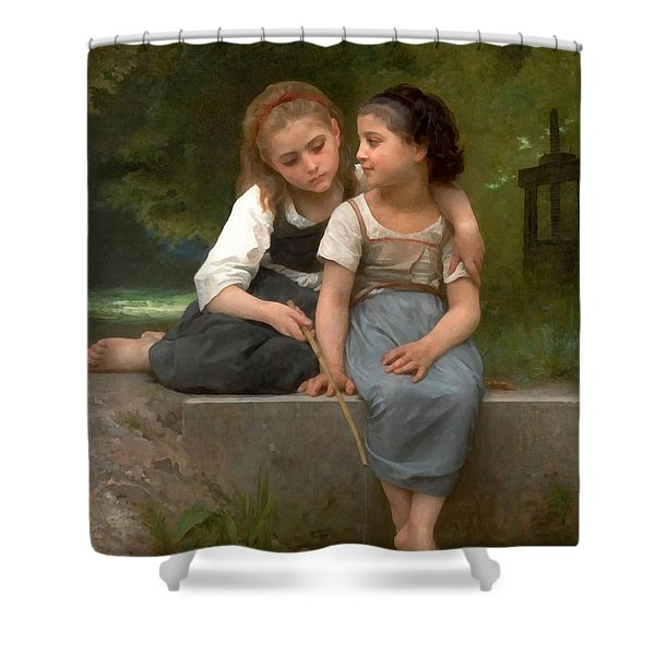 Fishing For Frogs Watercolor Version Shower Curtain by William Bouguereau
