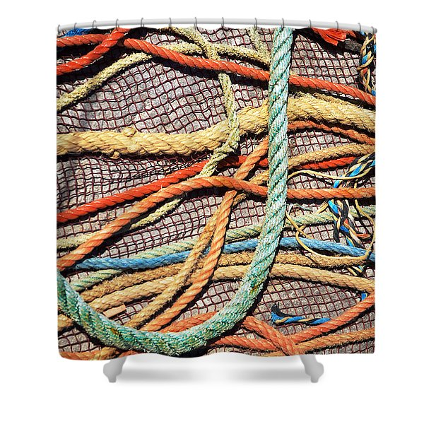 Fishing Ropes and Net Shower Curtain by Carlos Caetano