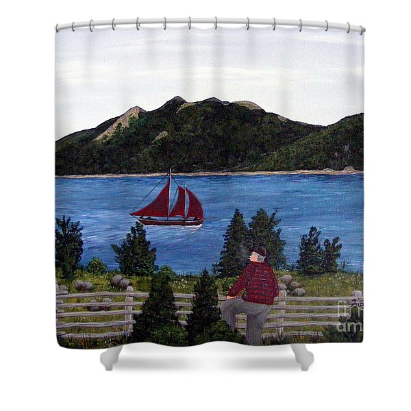 Fishing Schooner Shower Curtain by Barbara Griffin