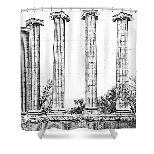 Five Columns Sketchy Shower Curtain by Debbie Portwood