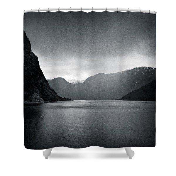 Fjord Rain Shower Curtain by Dave Bowman