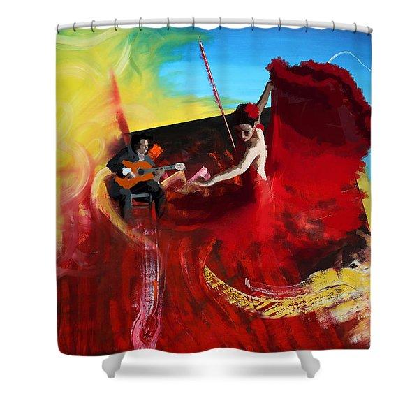 Flamenco Dancer 016 Shower Curtain by Catf
