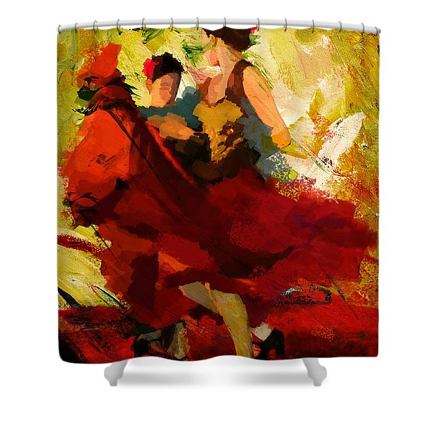 Flamenco Dancer 019 Shower Curtain by Catf