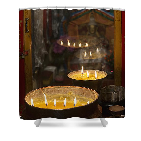Flames Burning In A Row In Large Bronze Shower Curtain by Keith Levit
