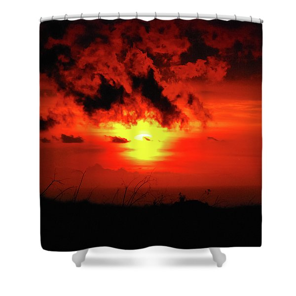Flaming Sunset Shower Curtain by Christi Kraft
