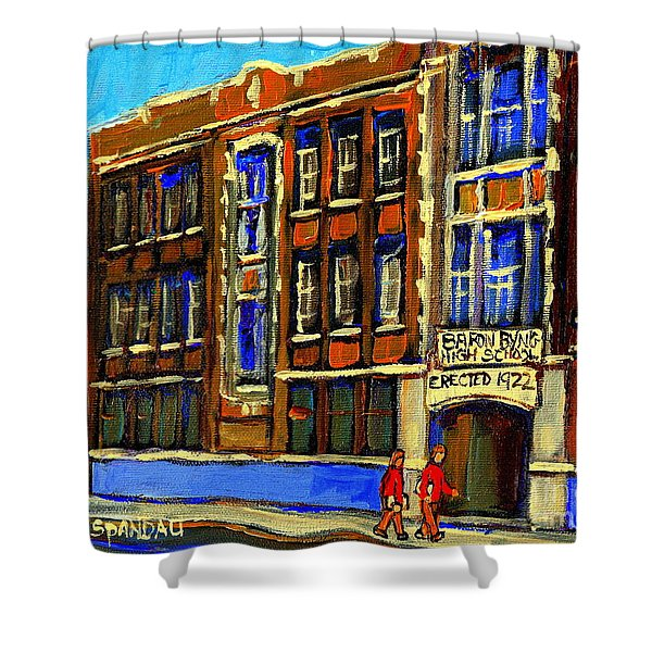 FLASHBACK TO SIXTIES MONTREAL MEMORIES BARON BYNG HIGH SCHOOL VINTAGE LANDMARK ST. URBAIN CITY SCENE Shower Curtain by CAROLE SPANDAU