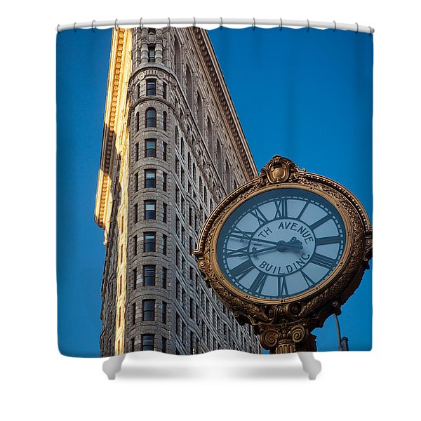 Flatiron Clock Shower Curtain by Inge Johnsson