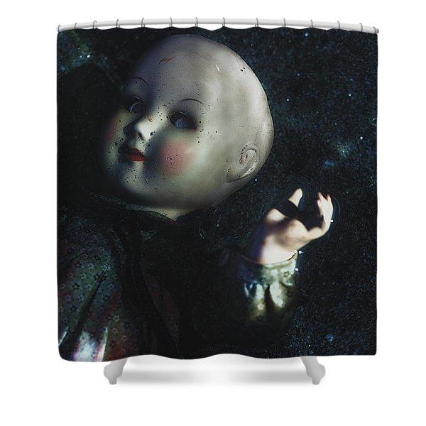 floating doll Shower Curtain by Joana Kruse
