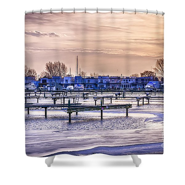 Floating Homes At Bluffers Park Marina Shower Curtain by Elena Elisseeva