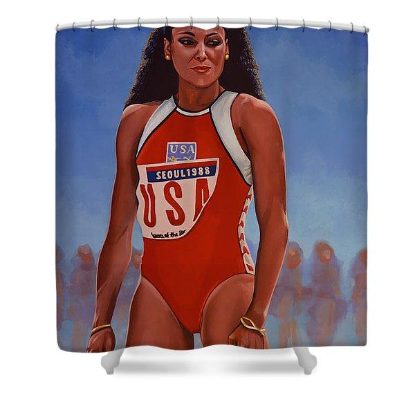 Florence Griffith - Joyner Shower Curtain by Paul Meijering