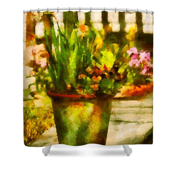 Flower - Daffodil - A pot of daffodil's Shower Curtain by Mike Savad