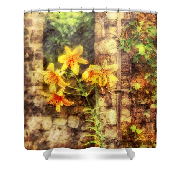 Flower - Lily - Yellow Lily Shower Curtain by Mike Savad