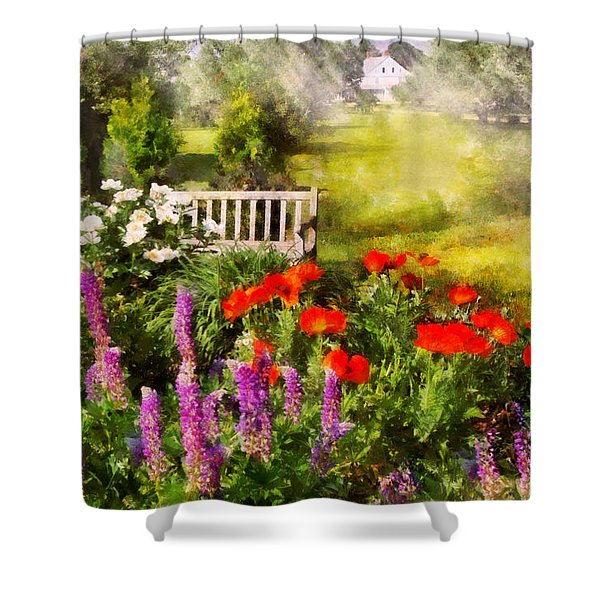 Flower - Poppy - Piece Of Heaven Shower Curtain by Mike Savad