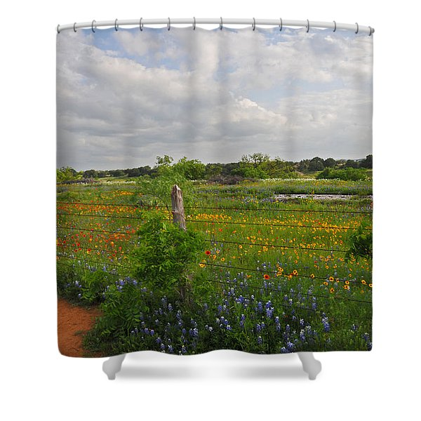 Flowers Along The Tracks Shower Curtain by Lynn Bauer