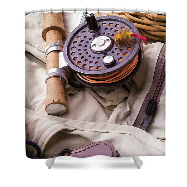Fly Fishing Still Life Shower Curtain by Edward Fielding