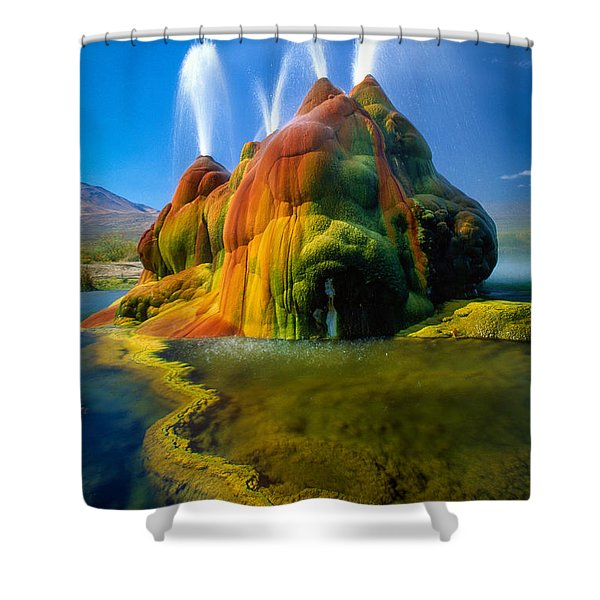 Fly Geyser Travertine Shower Curtain by Inge Johnsson