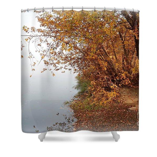 Foggy Autumn Riverbank Shower Curtain by Carol Groenen
