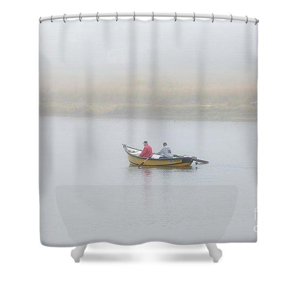 Foggy Nestucca Shower Curtain by Mike  Dawson